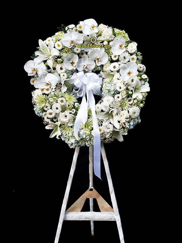 Vòng Hoa Tang Lễ Lan Hồ Điệp Sang Trọng, hoa tang lễ sang trọng