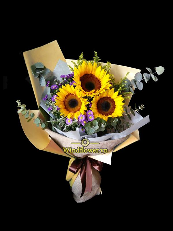 bó hoa đẹp, bó hoa chúc mừng, bó hoa hướng dương